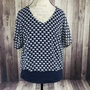 CAbi #5345 Parade Blouse in Navy Elephant Print
